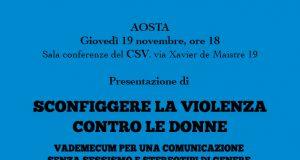 Il volantino di presentazione del vademecum contro la violenza di genere
