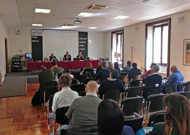 L'assemblea del lavoro autonomo nella sede della Fnsi